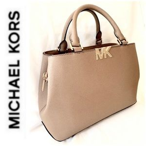 NWT authentic MK Florence leather satchel khaki